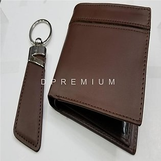 Set of wallet and keychain in brown and black color combination