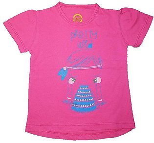 T-Shirt 100% Cotton Girls Top Hot Pink Front Printed
