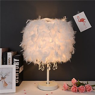 Modern Table Lamp LED Light Desk Living Room Bedroom Natural Feather Lampshade【…