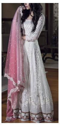 WOMEN HEAVY EMBROIDERED WEDDING DRESS UN STITCHED.MAXI STYLE.