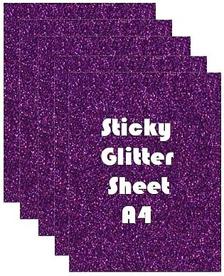 Pack of 10 - Sticky Fomic Glitter Sheets A4 Size for Art Work - Purple