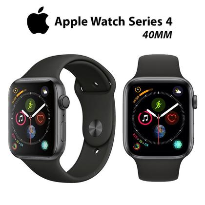 Apple Watch Series 4 40mm Space Gray Aluminum case Black Sport Band - Non Active 1 Year Apple Care International Warranty