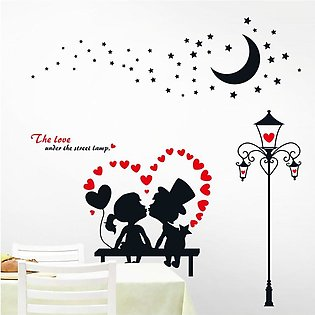 Cartoon Kissing Couple Wall Stickers Bedroom Home Removable DIY Art Decals
