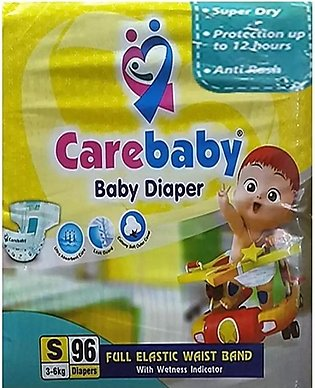 Care Baby Diapers Size 2 - (96 Pcs 3-6Kg) Wetness Indicator