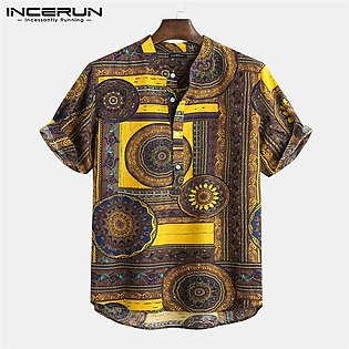 INCERUN Men's Short Sleeve V Neck T Shirt Vintage Floral Printing Causal Beach …