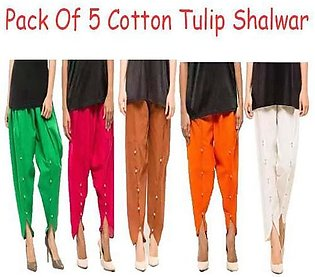 Pack of 5 - Cotton Tulip Shalwar For Women - Mixed