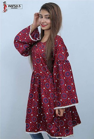HAFSA,s FASHION Frock Style Ajrak Printed Short Kurti For Her - HF-003