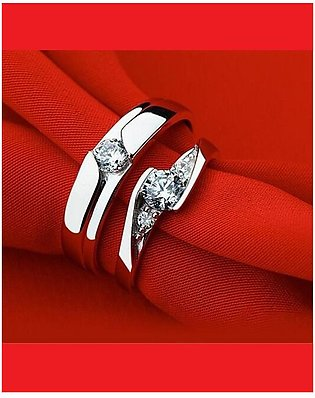 Hoor Home Collection Silver Metal Zircon Couple Rings - Jewellery