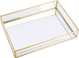 Gold Tray Mirror, Rectangle Mirror Tray Can Hold Perfume, Jewelry, Cosmetics, M…
