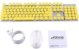 A3008 2.4G Wireless Mechanical Keyboard Gaming Mouse Retro