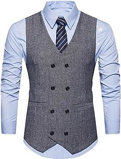Spring Fashion Woolen Men Retro Double-Breasted Casual V-Neck Waistcoat