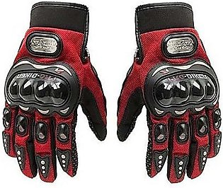 Motorbike Carbon Fiber Powersports Racing Gloves - Red