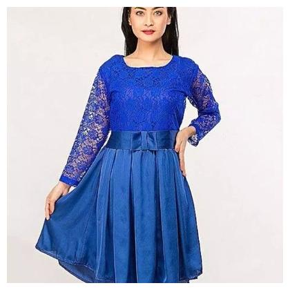 Royal Blue Stylish Net with Bow Belt Frock for Women