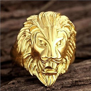 STYLE LOFT King of The Jungle Ferocious Lion Platinum Plated Stainless Steel Ri…