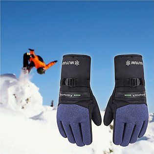 Men Winter Thermal Gloves Outdoor Motorcycle Riding Windproof Thicken Ski Gloves