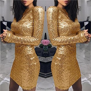 Women's Fashion Party Dress Sequin Slim Fit Evening Dress Solid Color Bodycon...