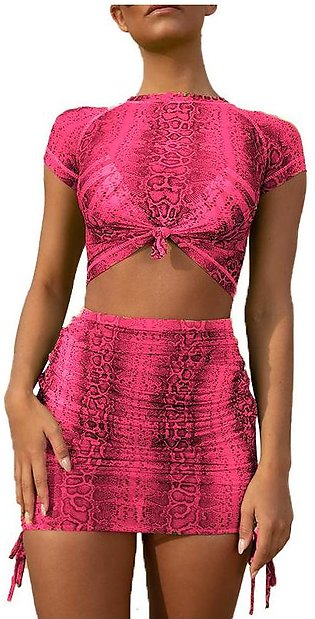 Serpentine Mesh y 2 Piece Set Crop Top and Skirt Matching Sets Summer Clothes f…