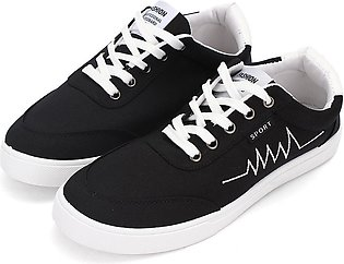 Mens Casual Canvas Shoes Leather Driving Moccasins Lace up Sport Trainers BLACK