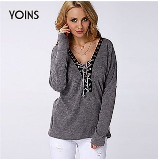 YOINS Women Sweater New Fashion Lace-up Knit Sweater Long Sleeve Casual Top Sex…