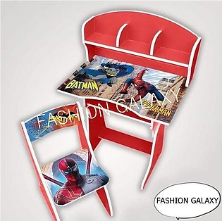 Kids Wooden Study Table & Chair Set In Spider-Man Character