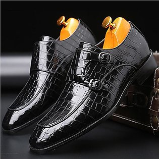 Classic Crocodile Pattern Business Flat Shoes Men Designer Formal Dress Leath...