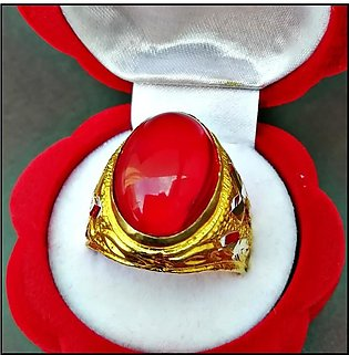 Golden Plated Unnatural Anari Yaqoot Stone Trendy Ring For Men With Gift Pack...