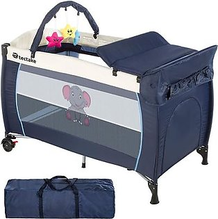 Baby Play Pen Portable Travel Baby Bed Cot, P614-BEE,126/66/82cm