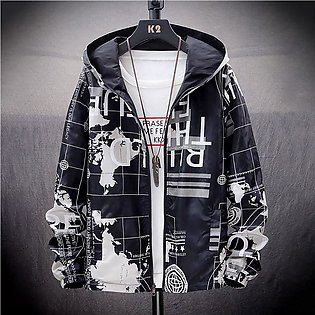 Mens Autumn Casual New Fashio  Printing  Hoodie Two-sided Wear Thin Coat