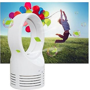 Portable Air Conditioner Table Mini Bladeless Fan 2 Speeds With Adapter White