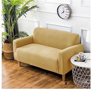 Polar Fleece Thickened Spandex Elastic Stretch Sofa Cover Slipcover Couch Beige 2 Seater Pillow Case Chair Cover