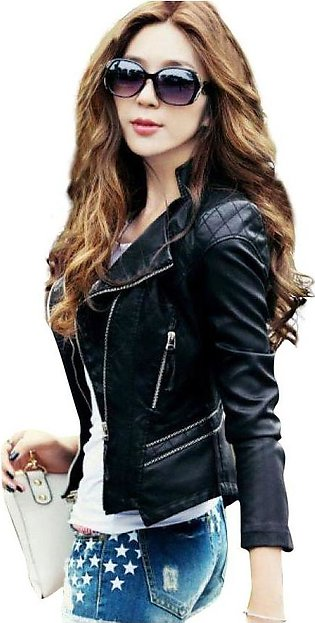 Black Faux Leather Slim Fit Jacket For Women - F3