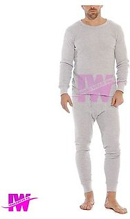 2 Pcs Mens Boys Premium Full Body Suit Thermal Body Warmer Skin Tight Stretchable Innerwear Winter Warm Long Johns Trouser Pajama Full Sleeve Shirt Light Grey / Silver