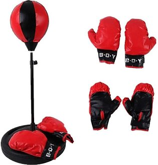 Rexine Punching Bag with Half Punching Gloves & Boxing Gloves
