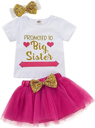 Kids Baby Girl Letter T shirt Tops Tutu Skirt Outfits Clothes Set
