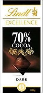 Lindt Excellence Bar, 70% Cocoa Smooth Dark Chocolate, Gluten Free,