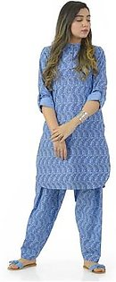 EGO Winter Collection 2019 Breather 2Pc Sky Blue Cotton 2Pcs Stitched For Women