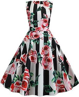 Women Dress 50s Housewife Prom