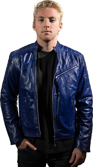 Wolf-Pac Royal Blue Leather Jacket Men Motorcycle Quilted Shoulder Slimfit
