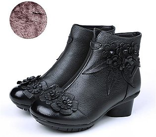 SOCOFY Fashion Retro Ankle Handmade Floral Zipper Soft Leather Women Winter Boo…
