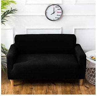 Polar Fleece Thickened Spandex Elastic Stretch Sofa Cover Slipcover Couch Charcoal Black 2 Seater Pillow Case Chair Cover