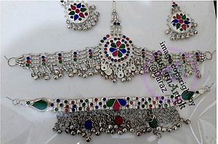 Afghani Matha Patti Necklace and Earrings Set