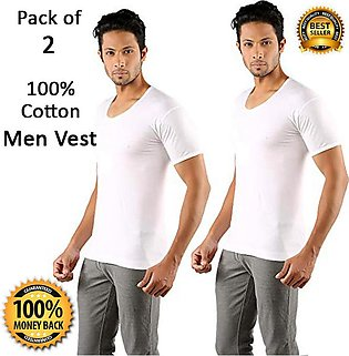 Pack of 2 Pure Cotton Vest for Men with Half Sleeves Premium Quality Banyan for…