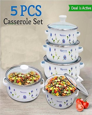 5 Pcs Set - White Color - Metal & Enamel Made Bowls Set USED FOR COOKING AND SE…