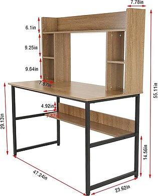 """Computer Desk with Bookshelf - 47"""" Home Office Desk with Space Saving Design fo…"""