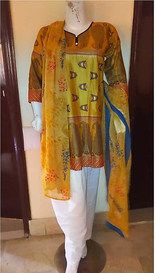 Multi color printed  & stitched  3 piece suit for females stuff lawn by A-J Cor…