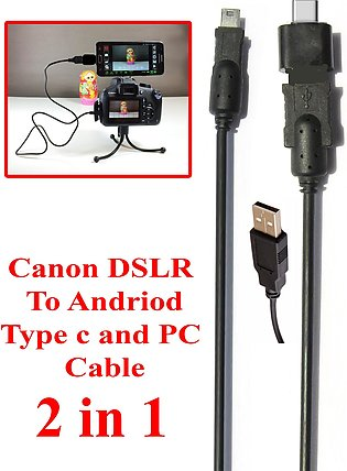 2 in 1 For Mobile Android Type C And PC Canon DSLR Camera Data Cable Also Works…