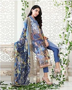 GA - Gul Ahmed - Blue Chantilly with Digital Printed Shirt 3PC-Unstitched - CT-253-158472