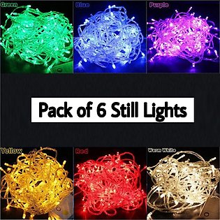 Pack of 6 - Multi Still Fairy Light String - 20 Feet each - (220V) for Functi...