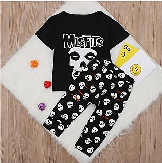 Children'S Summer Boys Halloween Short Sleeve T-Shirt Top + Skull Pants Two Set…