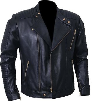 Wolf-Pac Black Leather Jacket Men Body Fitted Quilted Sleeves Zipped Cuff Moto